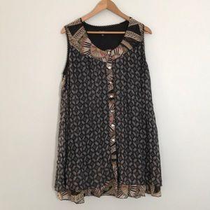 Papillon boho layered Button Down sleeveless dress